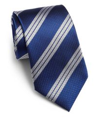 Saks Fifth Avenue - Blue Textured Striped Silk Tie for Men - Lyst