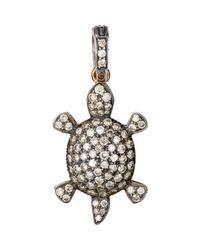 Munnu | Metallic Pave Turtle Charm | Lyst