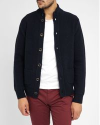 Harris Wilson | Blue Navy Alvin Lambswool Buttoned Cardigan for Men | Lyst