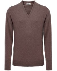 Jules B - Brown Cashmere V-neck Sweater for Men - Lyst