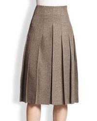 Akris Gray Pleated Tweed Skirt