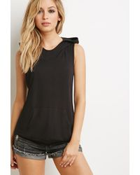 Forever 21 - Black Crisscross-back Sleeveless Hoodie - Lyst