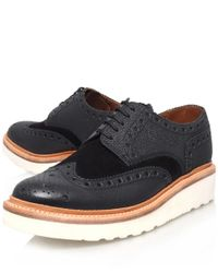 Foot The Coacher Black Archie Wedge Wingtip Leather Derby Shoes for men
