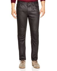 John Varvatos Black Collection Resin Coated Slim Fit Moto Jeans for men