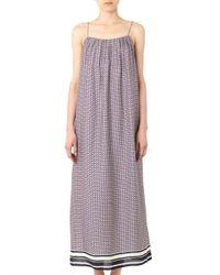 Vince - Blue Star-Print Silk Maxi Dress - Lyst