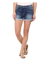 7 For All Mankind - Blue Roll Up Shorts In Brilliant Azure - Lyst