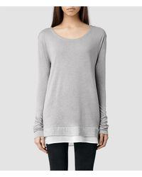 AllSaints Gray Miro Long Sleeved T-Shirt
