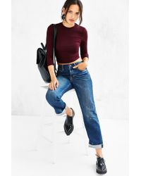 Silence + Noise Red Renee Mock-neck Top