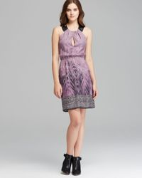 Twelfth Street Cynthia Vincent Purple Dress Silk and Leather Cutout
