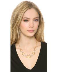 Alexis Bittar Metallic Scalloped Link Crystal Necklace
