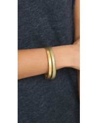 Madewell | Metallic Hammered Bangle Bracelet Set - Light Worn Gold | Lyst