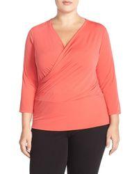 Ellen Tracy Orange Faux-Wrap Jersey Top