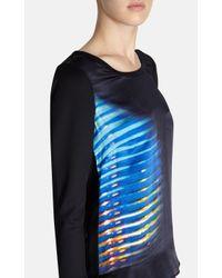 Karen Millen Black Printed Placed Stripe Te