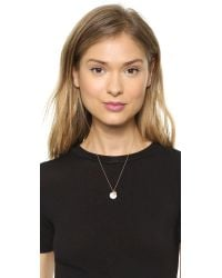 Kismet by Milka - Metallic Pave Round Necklace - White Diamond - Lyst