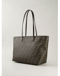 Fendi - Brown Roll Logo-Detail Calf-Leather Tote - Lyst