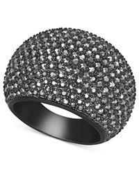 Swarovski | Black Pvd Jet Hematite Crystal Dome Ring | Lyst