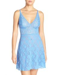 dc9a25a2bac Lyst - Hanky Panky  retro Plunge  Lace Chemise in Blue