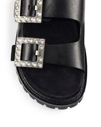 Michael Kors Black Alda Runway Crystal-embellished Leather Buckle Sandals