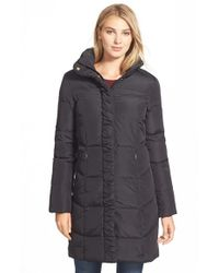 Ellen Tracy | Black Ruched Stand Collar Down Coat | Lyst