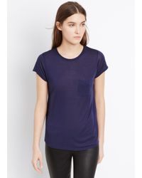 Vince Blue Pocket Tee With Roll Neck Detail