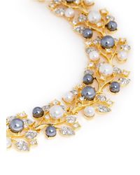 Kenneth Jay Lane Metallic Pearl And Crystal Pavé Vine Necklace