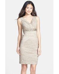 Eliza J | Natural Embellished Waist Crinkled Taffeta Dress | Lyst