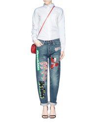 Marc By Marc Jacobs Blue 'annie' Appliqué Boyfriend Jeans