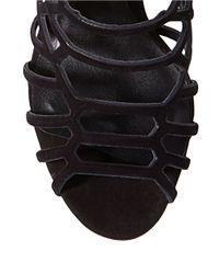 Steve Madden | Black Slithur Embossed Caged Sandals | Lyst