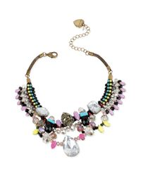 Betsey Johnson Multicolor Bead Skull and Mesh Faceted Stone Frontal Necklace