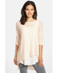 Eileen Fisher | Natural Tencel & Merino Bateau Neck Top | Lyst