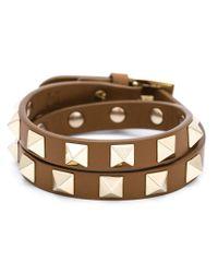 Valentino | Brown 'rockstud' Double Bracelet Or Choker | Lyst