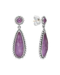 Lagos | Metallic Maya Silver Charoite Teardrop Earrings | Lyst