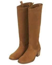 TOPSHOP Brown Cacoon High Leg Boots