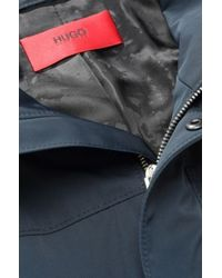 HUGO Blue Raincoat 'Mion' With A Band Collar for men