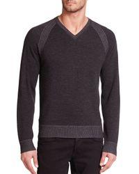 Robert Graham | Black Regan V-neck Wool Sweater for Men | Lyst