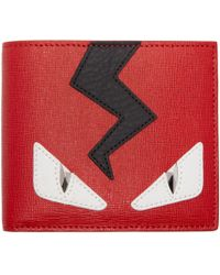 Fendi Red And Black Monster Eyes Bifold Wallet for men