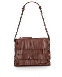 Sondra Roberts | Brown Fringed Faux Leather Shoulder Bag | Lyst