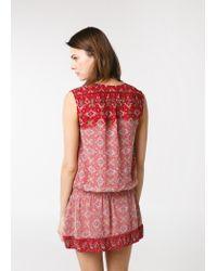 Mango Red Mosaic Print Dress