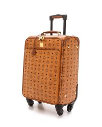 MCM Brown Small Carry On Trolly Bag - Cognac