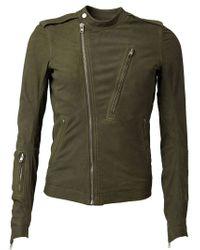 Rick Owens Green Band Collar Biker Jacket for men