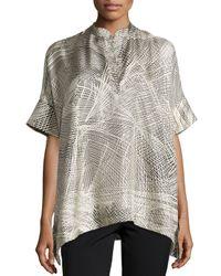 Natori - Black Lines Silk Twill Top - Lyst