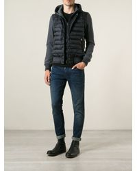 Moncler - Blue Padded Front Sweatshirt for Men - Lyst