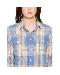Polo Ralph Lauren | Blue Plaid Cotton Workshirt | Lyst