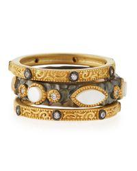 Freida Rothman | Metallic Byzantine Mother-of-pearl & Cz Stack Rings | Lyst