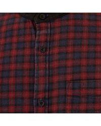 River Island - Red Mini Check Print Grandad Shirt for Men - Lyst