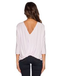 Michael Stars - Natural 3/4 Sleeve Cross Over Back Top - Lyst