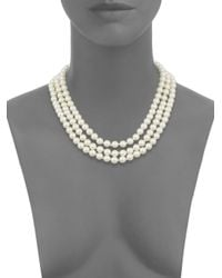 Kenneth Jay Lane - Metallic Three-row Simulated Pearl & Pendant Necklace - Lyst