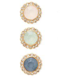 Forever 21 | Metallic Rhinestoned Button Earring Set | Lyst
