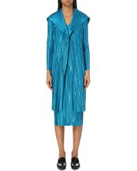 Pleats Please Issey Miyake - Blue Oversized-collar Pleated Coat - Lyst