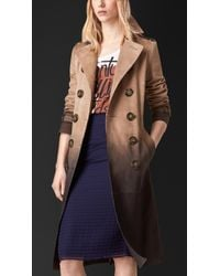 Burberry | Brown Dégradé Suede Trench Coat | Lyst